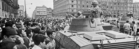 Protest with military tank